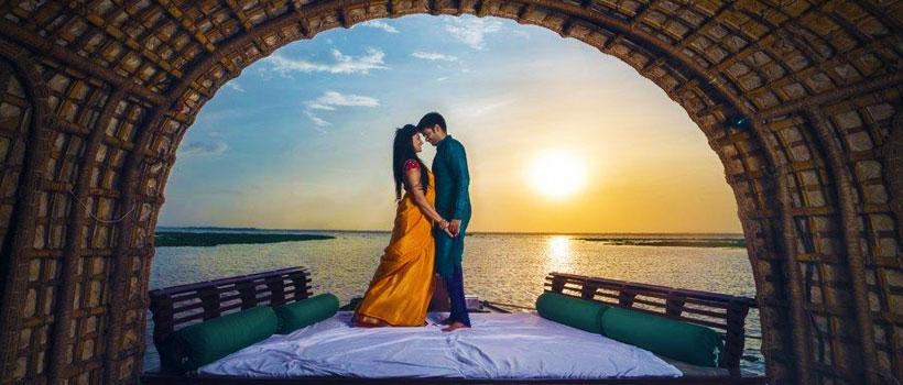 Honeymoon couples in Alleppey, Kerala