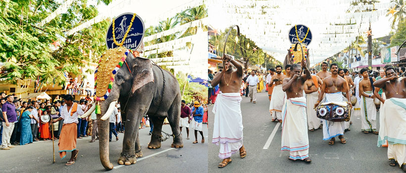 Elephant goes in front of parade and Musicians performing with on the streets of Fort Kochi during New Year carnival.