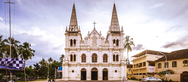 Front view of Santa Cruz Basilica church in Fort Kochi, Kochi, Kerala