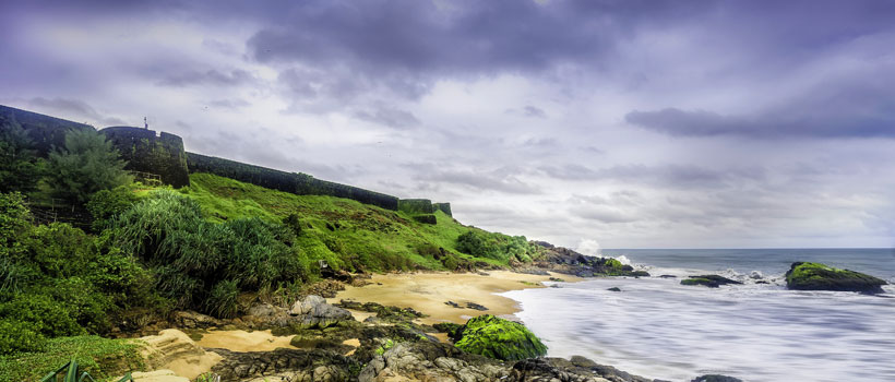 A beautiful view of Bekal fort and Bekal beach in the Kasargod district of Kerala
