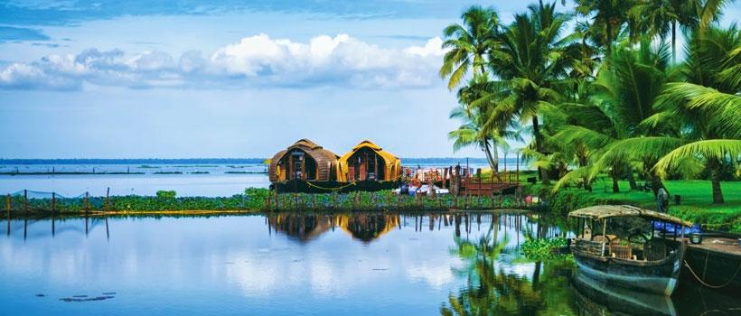 A scenic landscape with Kumarakom Lake Resort, Kerala