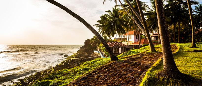 Golden light on a path leading to a resort near Varkala beach, Kerala