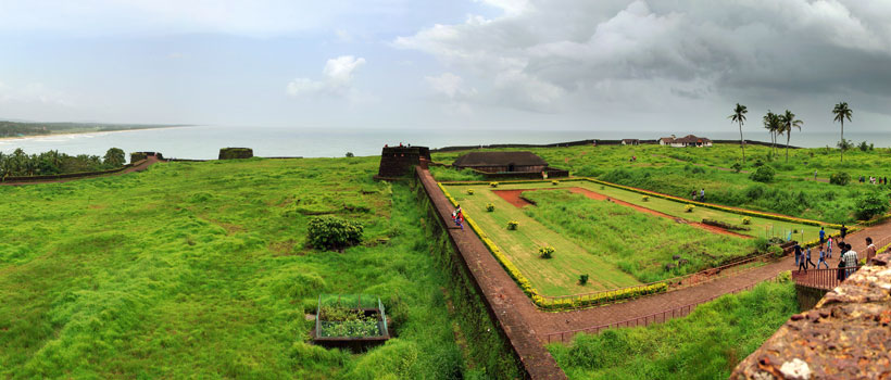 Panoramic view of Bekal Fort in a cloudy day.