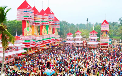 A glimmpse of large tower like structure with beautiful decorations in Cheetikulanga Bharani Festival
