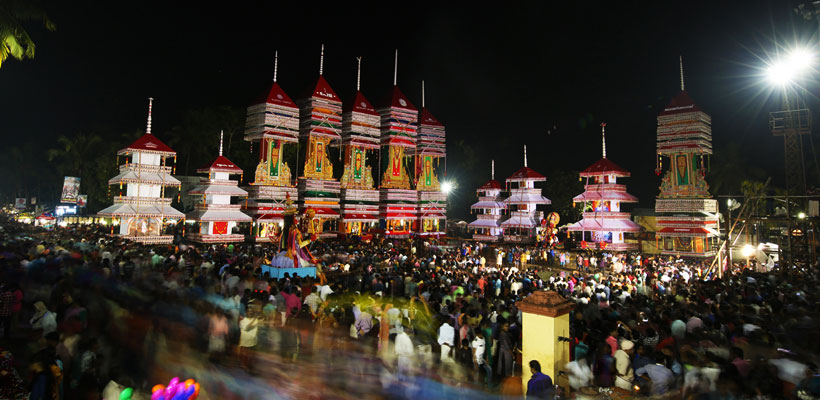 A glimpse of large tower like structure in Chettikulanga Bharani Festival in Mavelikara, Alleppey
