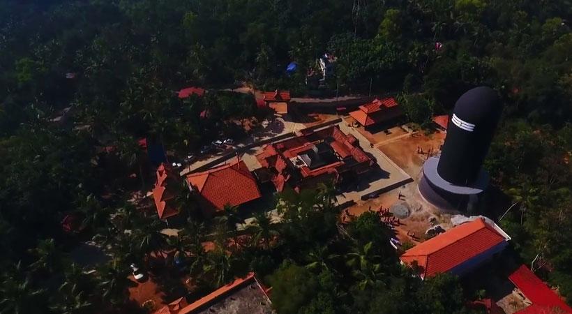 Aerial view of Chenkal Maheswaram Sri Sivaparvathi Temple in Trivandrum, Kerala