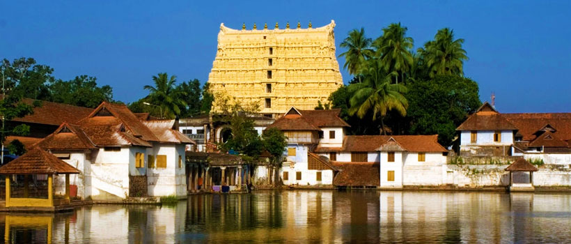 Trivandrum Padmanabhaswamy Temple view with temple pond