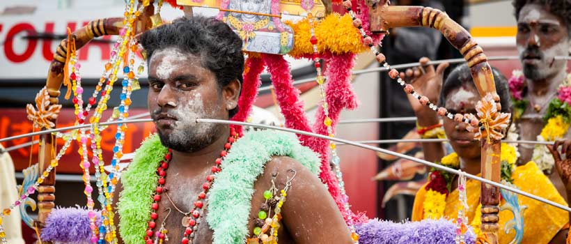 A cheek pierced devotee participate in the Thaipooyam festival at Subramanian temple on the occasion of Thaipooyam festival